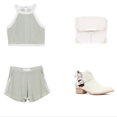 HANNAH+KAELEN crop | Alexander Wang bag | HANNAH+KAELEN shorts | Jeffrey Campbell shoes